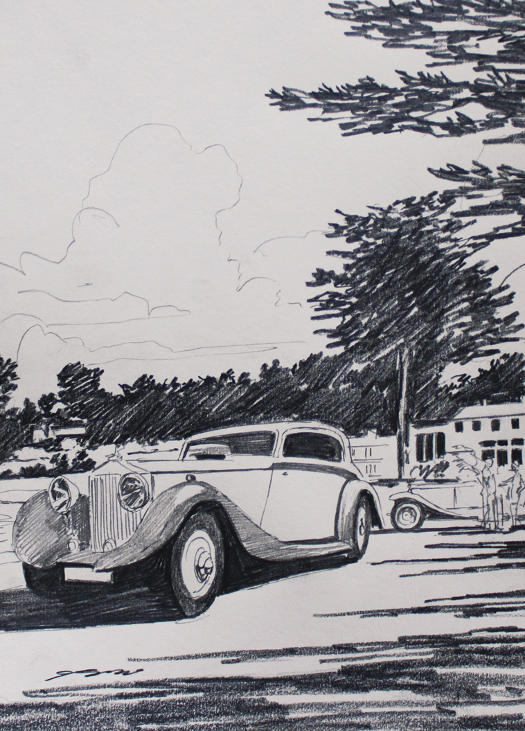 2018 Pebble Beach Concours d'Elegance event poster by Tim Layzell, featuring Motor Cars of the Raj