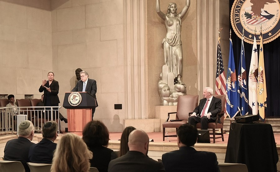 July 15: U.S. Attorney General William Barr delivering opening remarks at the U.S. Department of Justice Summit on Combating Anti-Semitism. (Credit: Dept. of Justice)