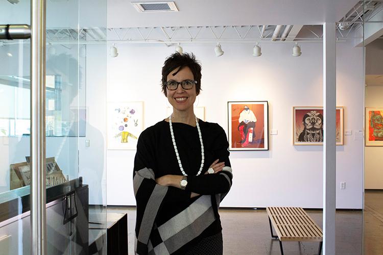 Nancy Zastudil in Tamarind's gallery.