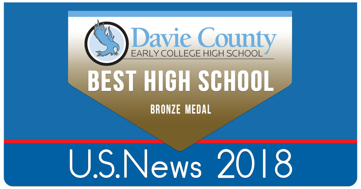 Davie County Early College High School US News and World Report 2018 Bronze Award graphic