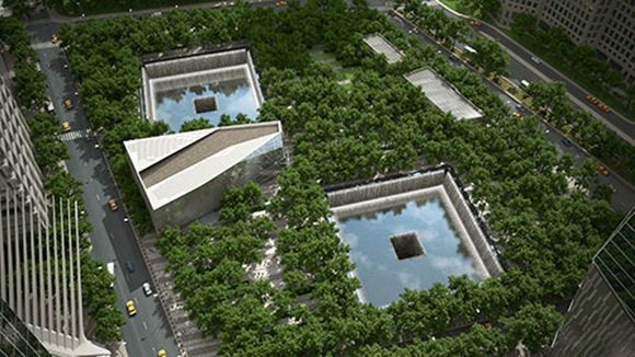 September 11 Memorial Fountains Colored and Coated with Miracote Products