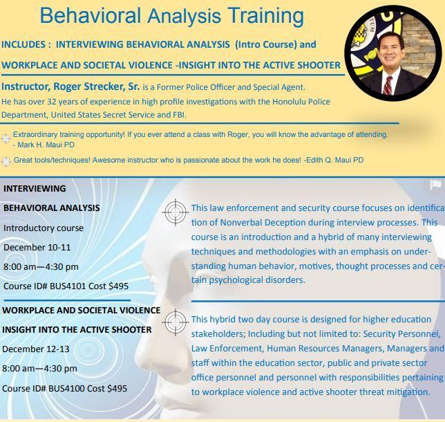 Behavioral Analysis Training is coming to you via Kauai Community