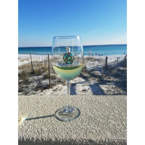 Sea Turtle Jeweled Wine Glass