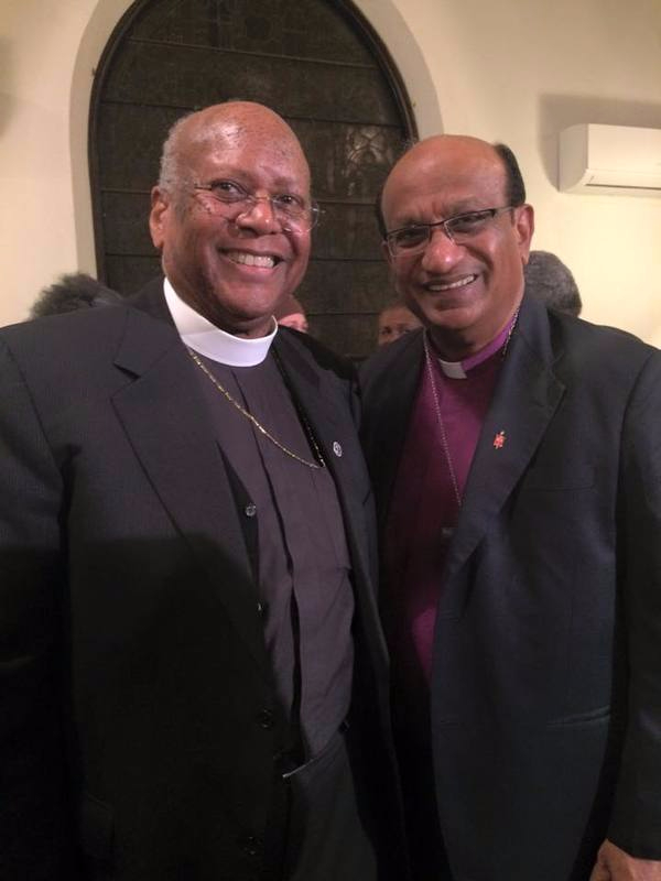 Presiding Elder Herbert Eddy of the New England Conference of the First Episcopal District - AME Church (left) & Bishop Sudarshana Devadhar of New England UMC at the AME Bicentennial prayer service- two Christian denominations in the same family that split 200 years ago. May God guide our reconciliation to be One!